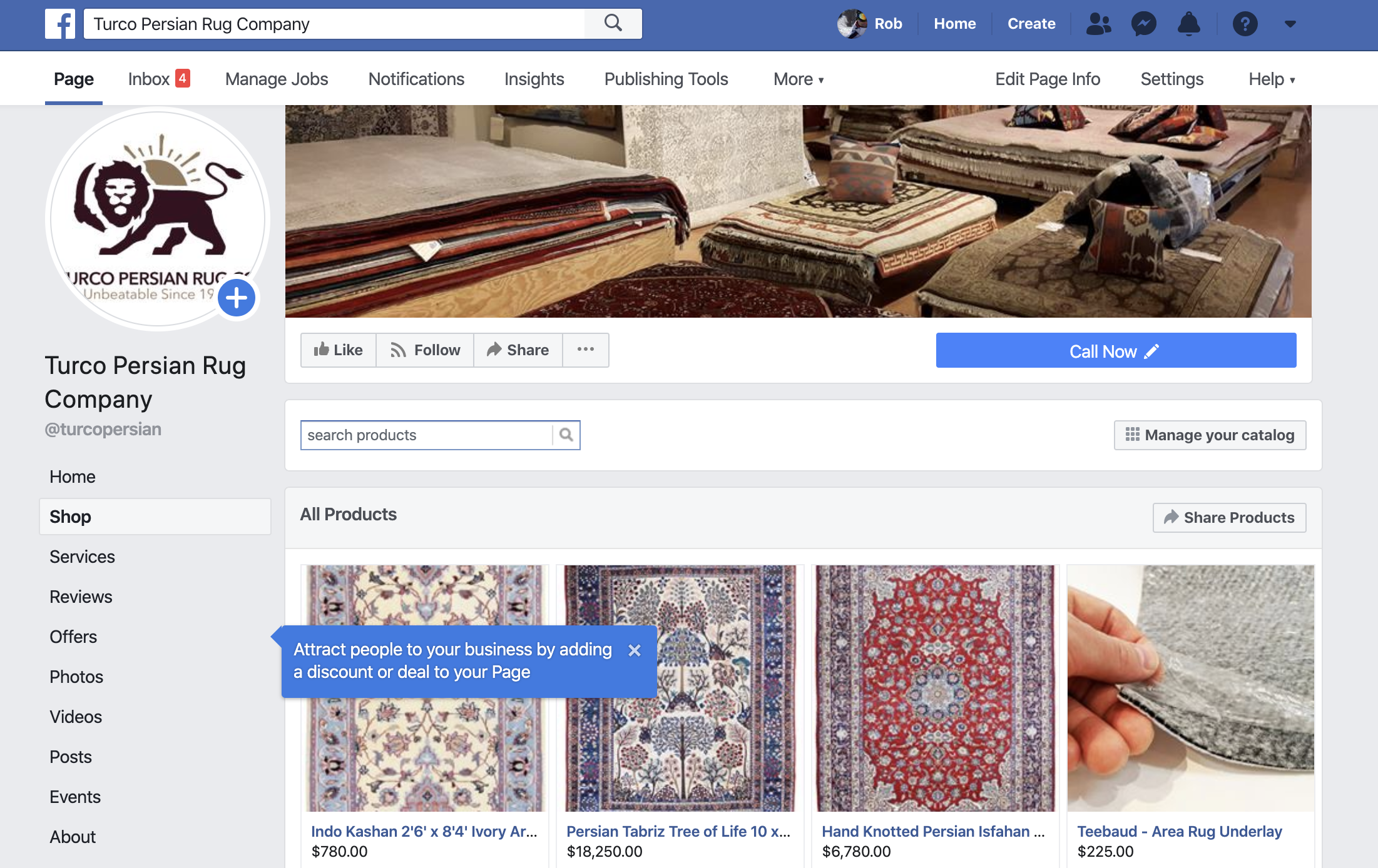 Facebook for Rug eCommerce